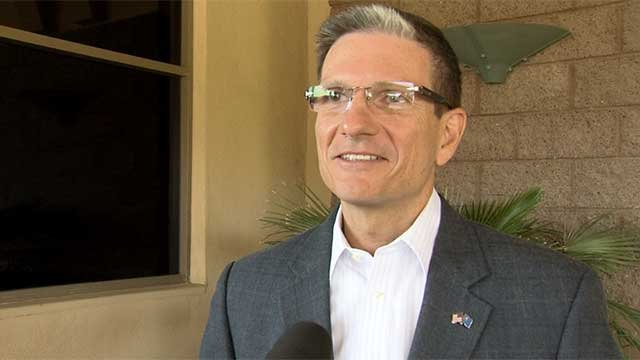 Republican Rep. Joe Heck, Dist. 3, talks to FOX5 after casting his ballot Nov. 4, 2014. (FOX5)