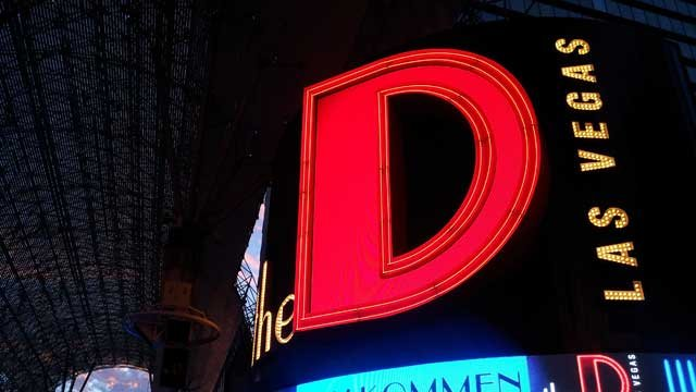 "The iconic ""D"" marquee of The D Las Vegas appears at night in this"