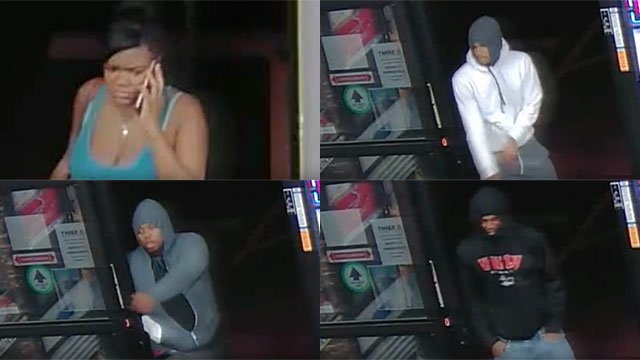 Police were seeking a female person of interest as well as three robbers connected to the April 18, 2016 attempted robbery and slaying at a Lee's Discount Liquor. (Source: YouTube/LVMPD)