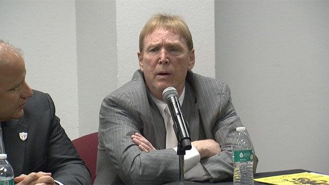 Oakland Raiders owner Mark Davis speaks in Las Vegas as part of a stadium proposal presentation on April 29, 2016. (FOX5)