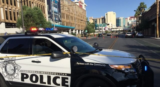 Metro police at the scene of a shooting in downtown Las Vegas May 29, 2016. (Jason Westerhaus/FOX5)
