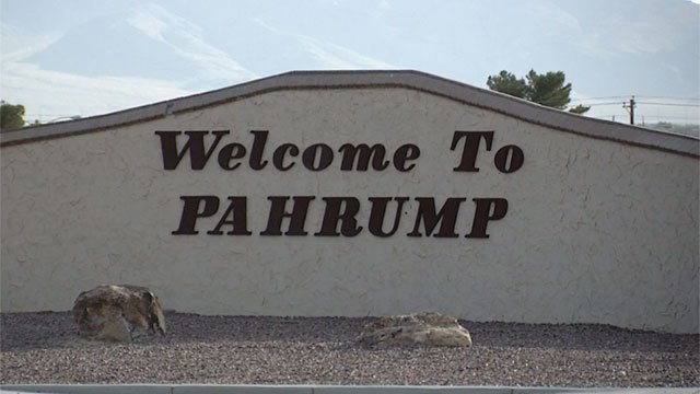 A sign welcoming people to the Nevada town of Pahrump appears in this image from June 9, 2016. (Source: FOX5)