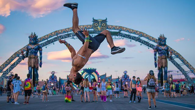 A festivalgoer flips through the air at the Electric Daisy Carnival in Las Vegas on June 19, 2016. (Source: aLive Coverage for Insomniac)