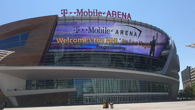 The LED display at T-Mobile Arena welcomes the NHL to Las Vegas on June 22, 2016. (Jason Westerhaus/FOX5)