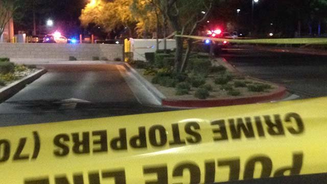 Crime tape and police vehicles in the area of Lake Mead and Jones boulevards on June 29, 2016. (Source: FOX5)