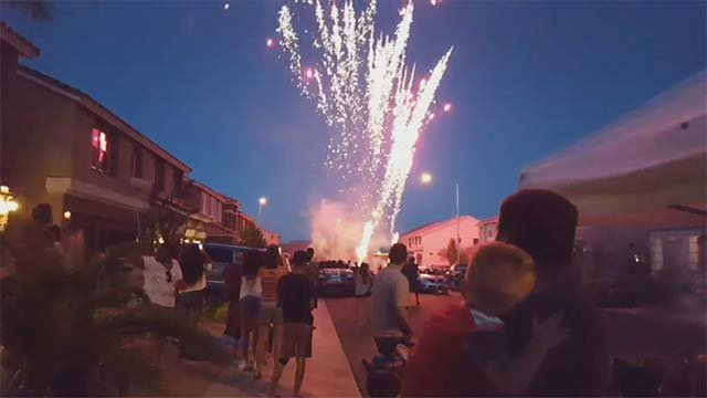Illegal fireworks in a Las Vegas Valley neighborhood in this image from July 4, 2016. (Source: FOX5)
