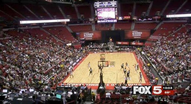 A crowd watches a game at the NBA Summer League on July 10, 2016. (Robert Noble/FOX5)