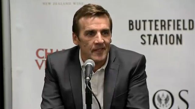 George McPhee talks about being named the general manager of Las Vegas' new hockey team July 13, 2016. (Source: Robbie Hunt/FOX5)