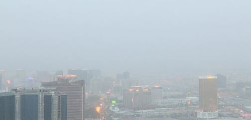 View of the Las Vegas Strip partially blocked by dust. (Stratosphere/FOX5)