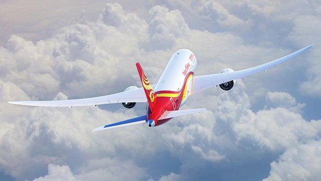A Hainan Airlines jet is seen in mid-air in this undated photo. (Source: McCarran Airport/Twitter)