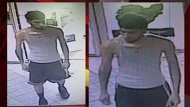 Surveillance stills of a man believed to be responsible for an armed business robbery on Aug. 3, 2016. (Source: LVMPD)