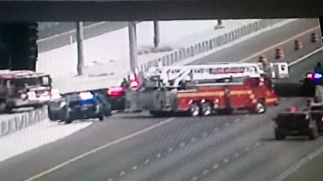 Emergency vehicles block U.S. 95 at Durango Drive after a crash on August 11, 2016. (FAST CAM)