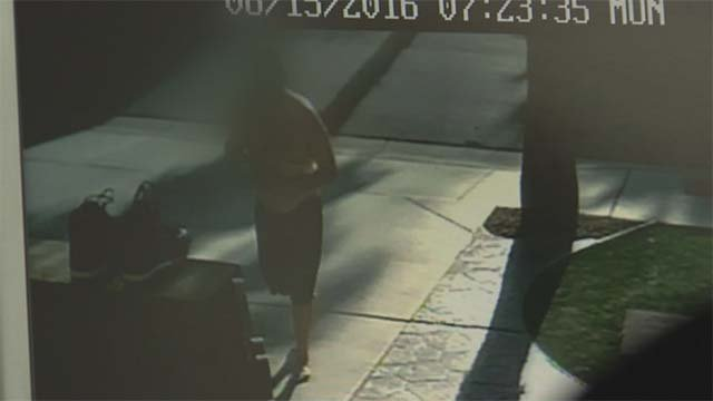 Surveillance video catches a shoe thief in action in a Henderson neighborhood on Aug. 15, 2016. (Source: FOX5)