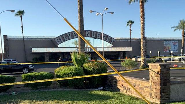 North Las Vegas police block off a shooting scene at Silver Nugget Casino on August 14, 2016. (Jason Westerhaus/FOX5)