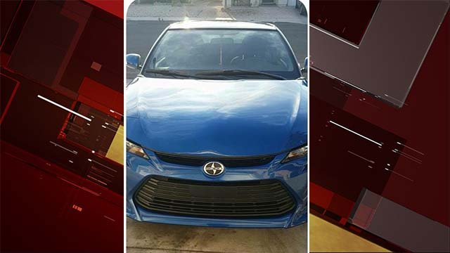 The 2015 Scion believed to have been in the possession of homicide suspect Jaime Santana. (Source: LVMPD)