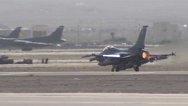 An aircraft takes off from Nellis Air Force Base in Southern Nevada. (File/FOX5)