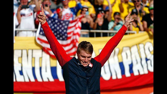 Gold medalist Connor Fields of the United States celebrates during a victory ceremony for the men's BMX cycling final during the 2016 Olympic Games in Rio de Janeiro, Brazil, Friday, Aug. 19, 2016. (AP Photo/Patrick Semansky)