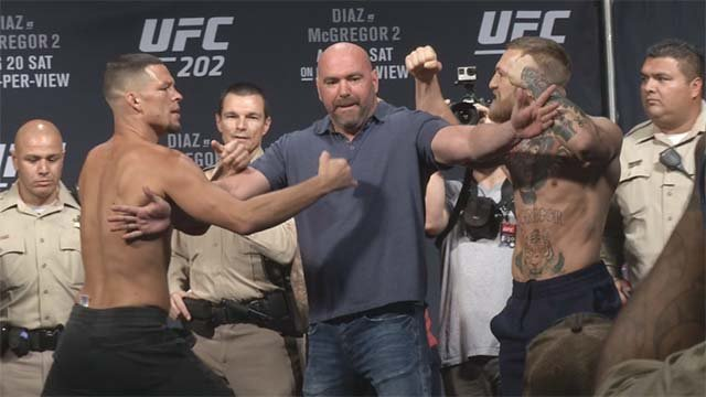 Nate Diaz, left, and Conor McGregor square off at the UFC 202 weigh-in at MGM Grand on Aug. 19, 2016. (Source: FOX5)