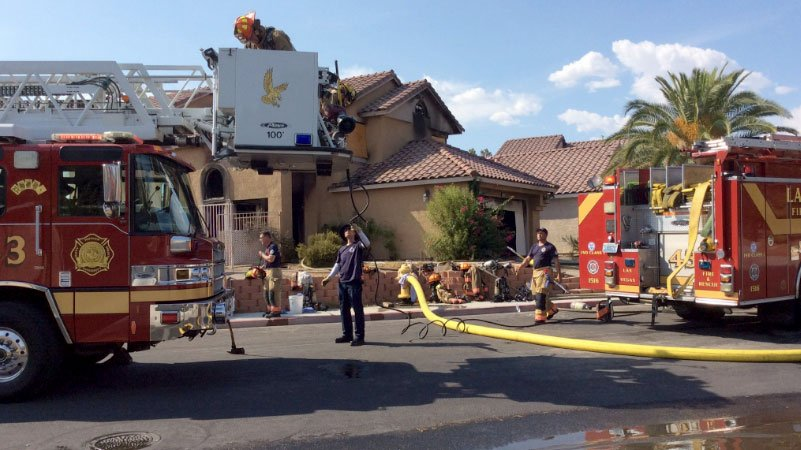 Fire crews at the scene of a blaze on Aug. 20, 2016. (Source: LVFR)