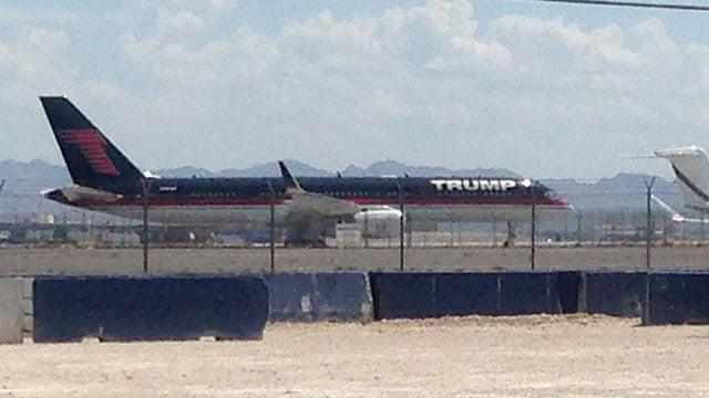 An airliner belonging to Donald Trump waits at McCarran International Airport on August 26, 2016. (Peter Dawson/FOX5)