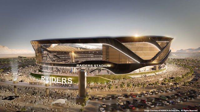 A rendering of the proposed Raiders stadium was presented on August 25, 2016. (Source: SNTIC.org)