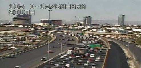 Traffic seen on I-15 after fatal accident reported on August 28, 2016. (LVACS)