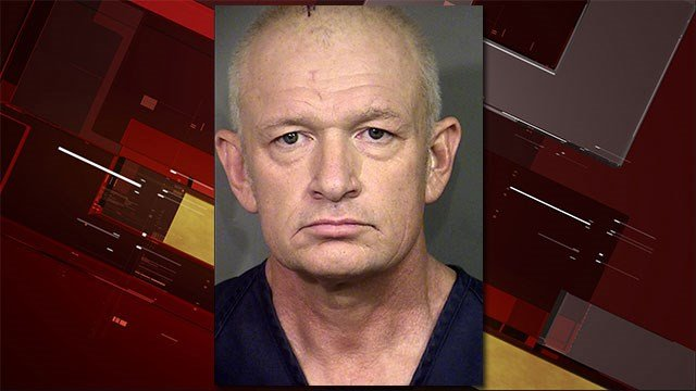 This undated booking photo provided by the Las Vegas Metropolitan Police Department shows Alexander Montagu-Manchester, 53. (Clark County Detention Center/Las Vegas Metropolitan Police Department via AP)