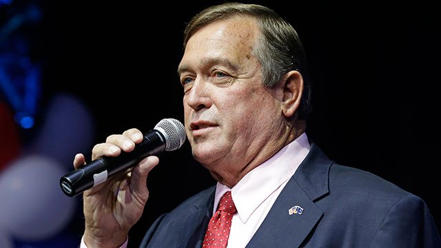Cresent Hardy, GOP candidate for the 4th Congressional District, speaks at a GOP victory party Tuesday, Nov. 4, 2014, in Las Vegas. (AP Photo/John Locher)