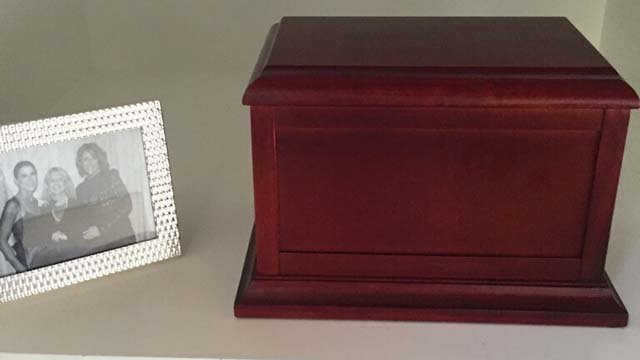 Barbara Mulholland's ashes were being stored in a cherry wood box. (Source: Barbara Mulholland)