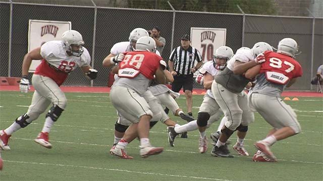 UNLV football players practice in preparation for the 2016 season. (Source: FOX5)