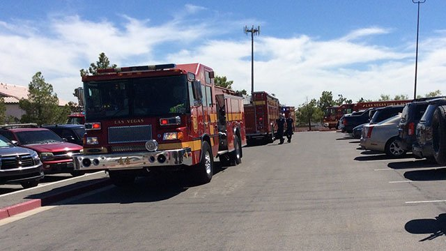 Fire engines arrive at Walter Johnson Middle School on Sept. 7, 2016. (Source: Las Vegas Fire and Rescue)