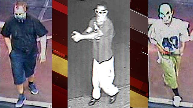 Surveillance stills of three men responsible for business robberies in the west Valley on Sept. 7, 2016. (Source: LVMPD)