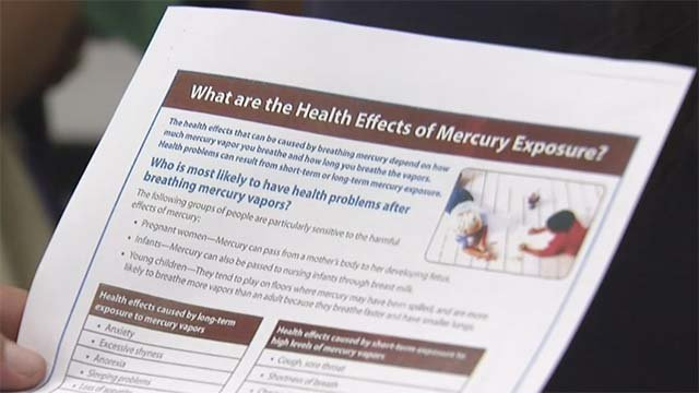 An informational packet concerning mercury exposure distributed to parents on Sept. 8. 2016. (Source: FOX5)