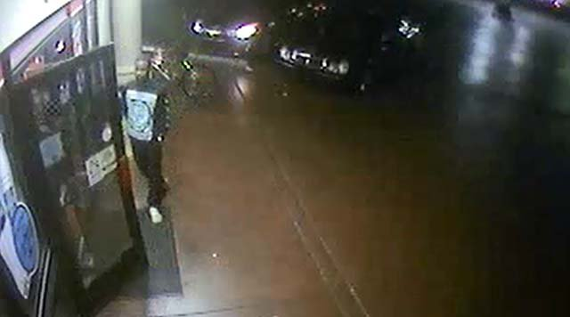 Surveillance still of one of two men suspected in an armed robbery on Sept. 1, 2016. (Source: LVMPD)
