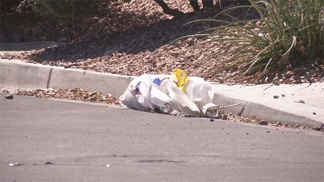 Trash on a street in the area of Interstate 215 and Fort Apache Road on Sept. 16, 2016. (Source: FOX5)