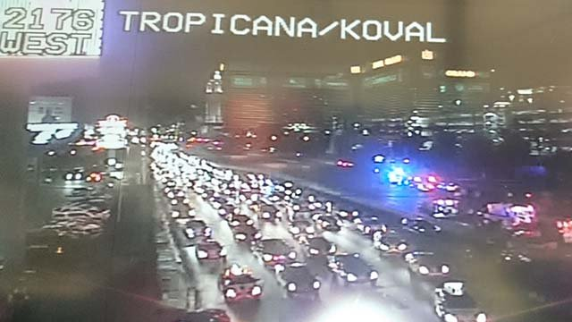 Metro police on the scene of a fatal crash at Tropicana Avenue and Koval Lane on Sept. 16, 2016. (Source: FOX5)