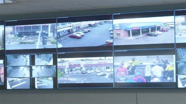 Monitors show real-time video feeds from throughout Southern Nevada at the multi-agency Fusion Center. (Source: FOX5)