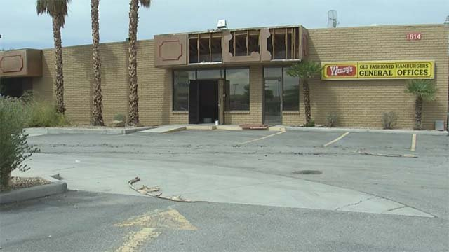A boarded-up Wendy's restaurant in North Las Vegas burned on Sept. 20, 2016. (Source: FOX5)