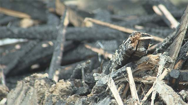 Charred materials following a fire at an abandoned Wendy's restaurant in North Las Vegas on Sept. 20, 2016. (Source: FOX5)