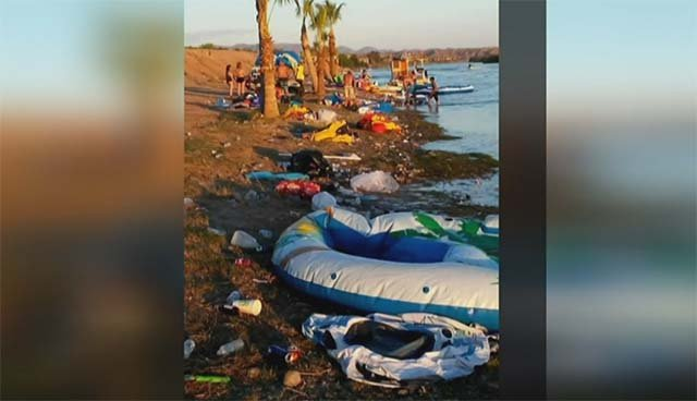 Trash that washed ashore at the Colorado River following the 2016 River Regatta in Laughlin and Bullhead City, AZ. (Source: Facebook)
