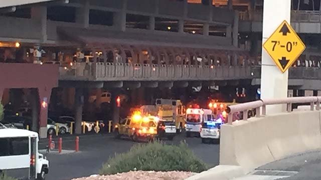 Emergency vehicles at McCarran International Airport following a shooting on Sept. 19, 2016. (Source: FOX5 viewer)