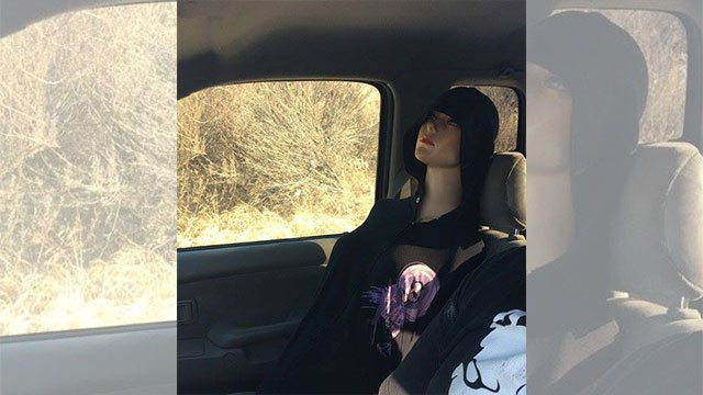 Police in Brea, CA posted a picture of a mannequin riding shotgun on a freeway. The driver was seen using the mannequin in the carpool lane. (Source: Brea Police Department)