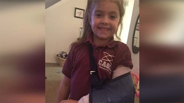 According to her mother, Lleylan, a student at Coral Academy, was made to remain in a classroom after suffering a broken elbow. (Source: Marki Eisenhour)