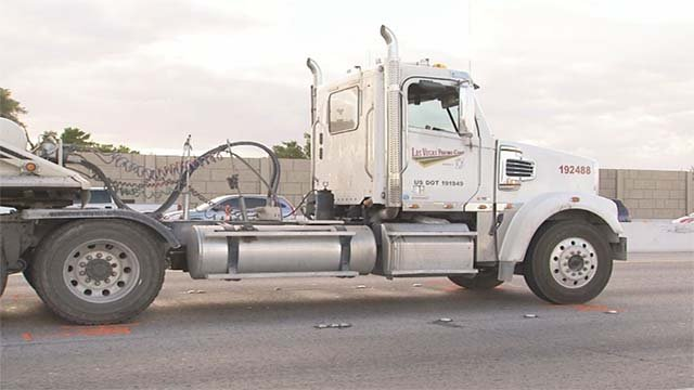 The Las Vegas Paving semi-truck that fatally struck a shooting suspect on U.S. 95 on Sept. 29, 2016. (Source: FOX5)