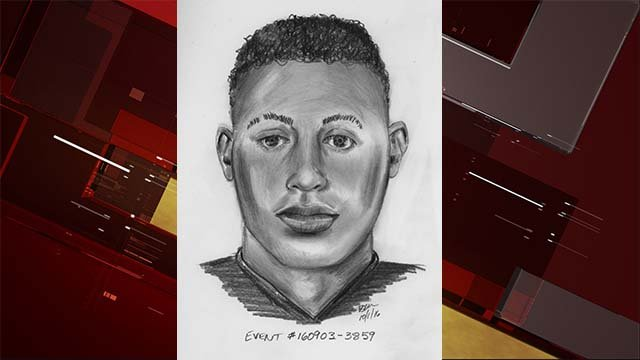 Police sketch of a man who robbed and assaulted juveniles in the area of South Pecos Road and East Reno Avenue on Sept. 3, 2016. (Source: LVMPD)