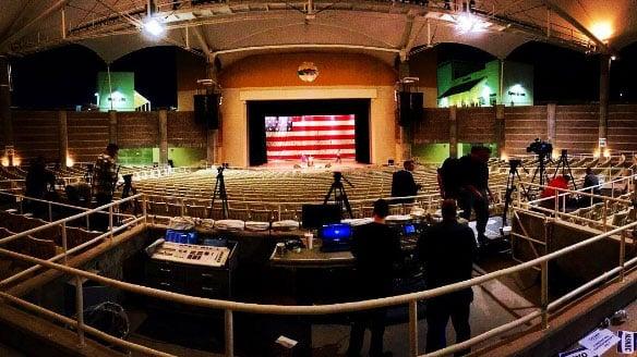 Pre-dawn preparations were made ahead of Donald Trump's rally inside Henderson Pavilion on Oct. 5, 2016. (Alyssa Deitsch/FOX5/Instagram)