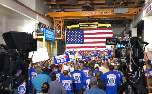 Vice presidential candidate Tim Kaine held a rally at United Brotherhood of Carpenters Training Center in Las Vegas on Thursday, Oct. 6. (Source: Miguel Martinez-Valle/FOX5)