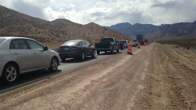 Traffic backed up on State Route 160 following a fatal crash on Oct. 10, 2016. (Source: Jason Westerhaus/FOX5)