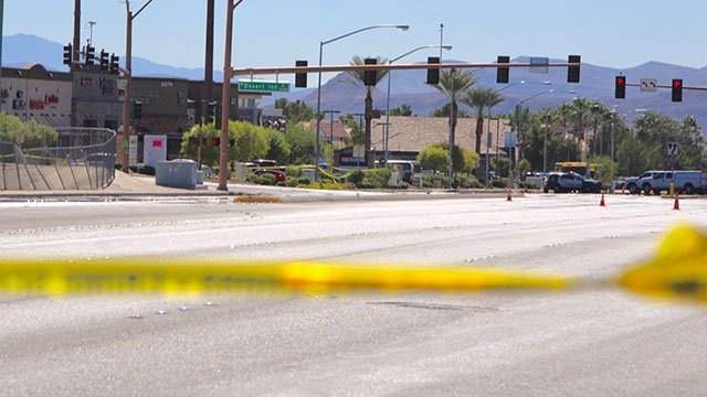 Hualapai Way between Desert Inn and Spring Mountain roads was closed to traffic amid a suspicious package investigation on Oct. 11, 2016. (Gai Phanalasy/FOX5)