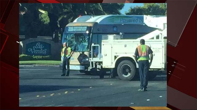 An RTC bus sustained damage in a crash at Tropicana Avenue and Torrey Pines Drive on Oct. 11, 2016. (Source: Joseph Wilcox/FOX5 Report It)